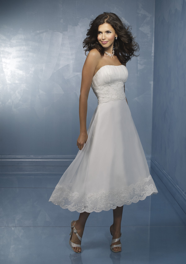 Tea Length Wedding Dress Without Straps